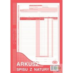 arkusz spisu z natury